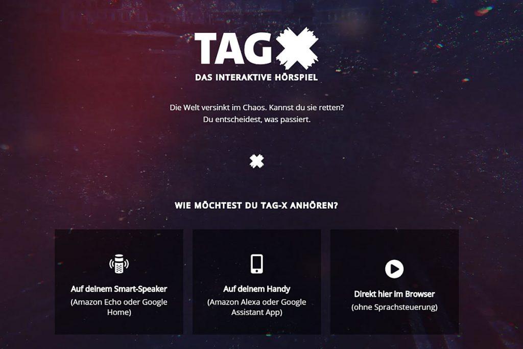 """Screenshot des interaktiven Hörspiels """"Tag X""""."""