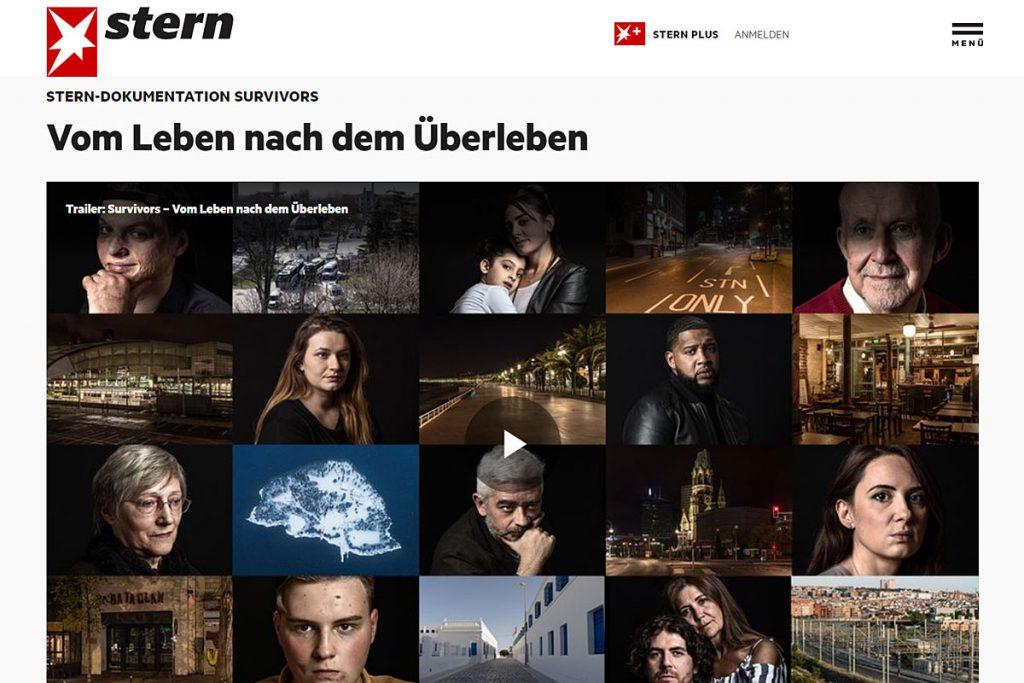 """Screenshot der Multimedia-Dokumentation """"Survivors – vom Leben nach dem Überleben"""" des Stern."""