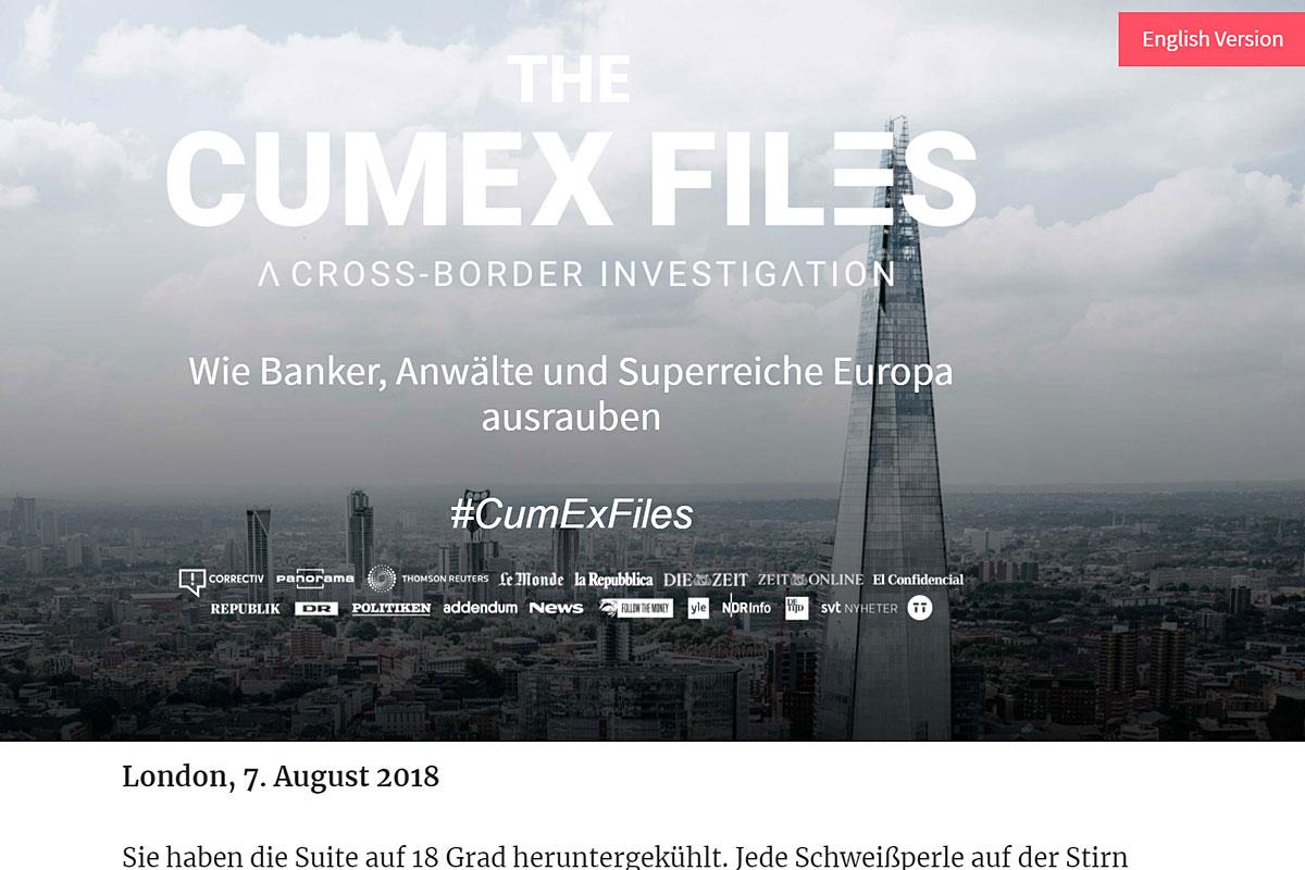 """Screenshot der """"Cum-Ex-Files"""" von Correctiv."""