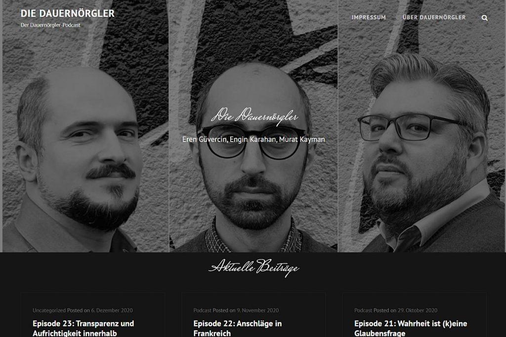 """Screenshot der Website zum Podcast """"Die Dauernörgler""""."""