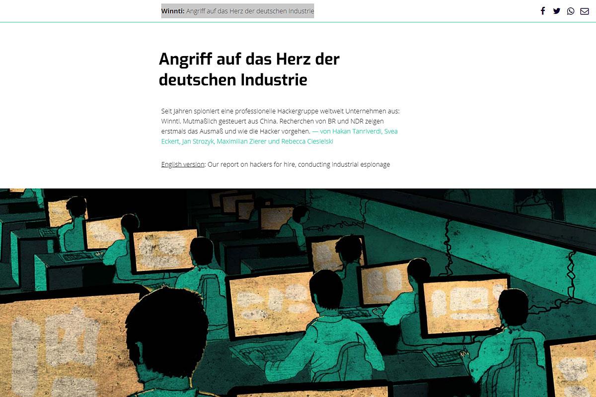 """Screenshot von """"Winnti: Angriff auf das Herz der deutschen Industrie""""."""