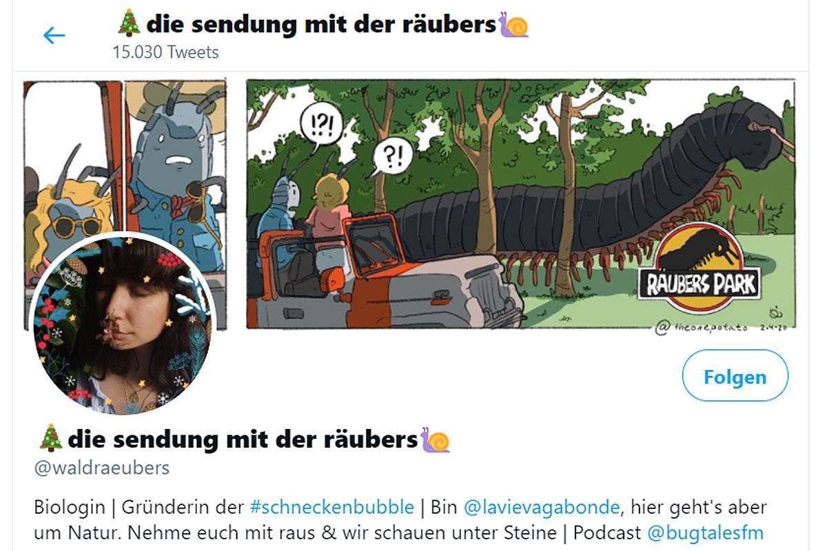 Screenshot des Twitter-Accounts @waldraeubers.