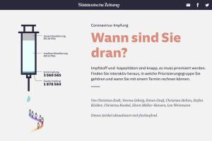 """Screenshot """"Coronavirus-Impfung. Wann sind Sie dran?"""" von Süddeutsche Zeitung"""