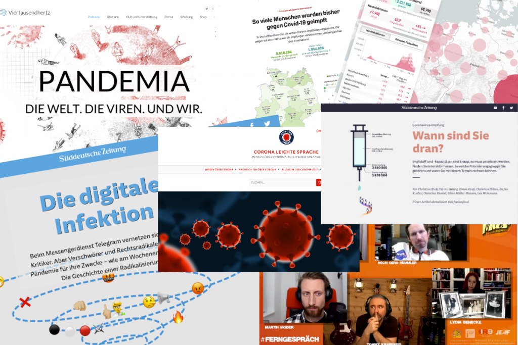Collage Screenshots Websites zu Corona Wissenschaftsjournalismus: Lisa Wolf/Grimme-Institut