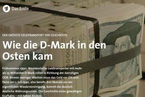 """Screenshot der ARD-Multimedia-Reportage """"Wie die D-Mark in den Osten kam""""."""