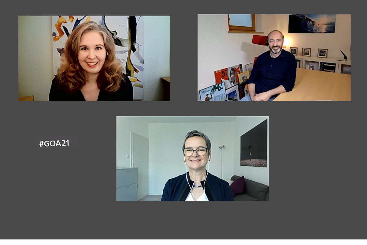 Vera Lisakowski (links oben), Michael Schwertel (rechts oben) und Frauke Gerlach (mittig unten) stellten die 28 Nominierungen des Grimme Online Award 2021 im Stream vor. (Foto: Screenshot)