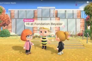 "Screenshot eines Videos über die Fondation Beyeler bei ""Animal Crossing: New Horizons""."