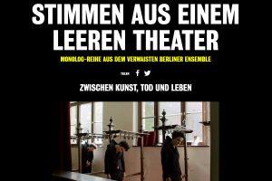 """Screenshot des Videoprojekts """"Stimmen aus dem leeren Theater"""" des Berliner Ensembles."""