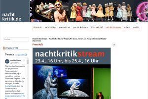 """Screenshot der Übersicht über die Streams der """"Nachtkritik""""."""
