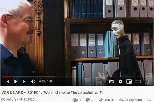 """Screenshot eine Videos aus der Reihe """"Ivor & Lars"""" der Puppentheatersammlung der Staatlichen Kunstsammlungen Dresden."""