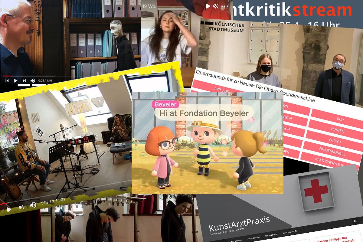 Collage von Screenshots von zum Grimme Online Award eingereichten Online-Kultur-Angeboten.